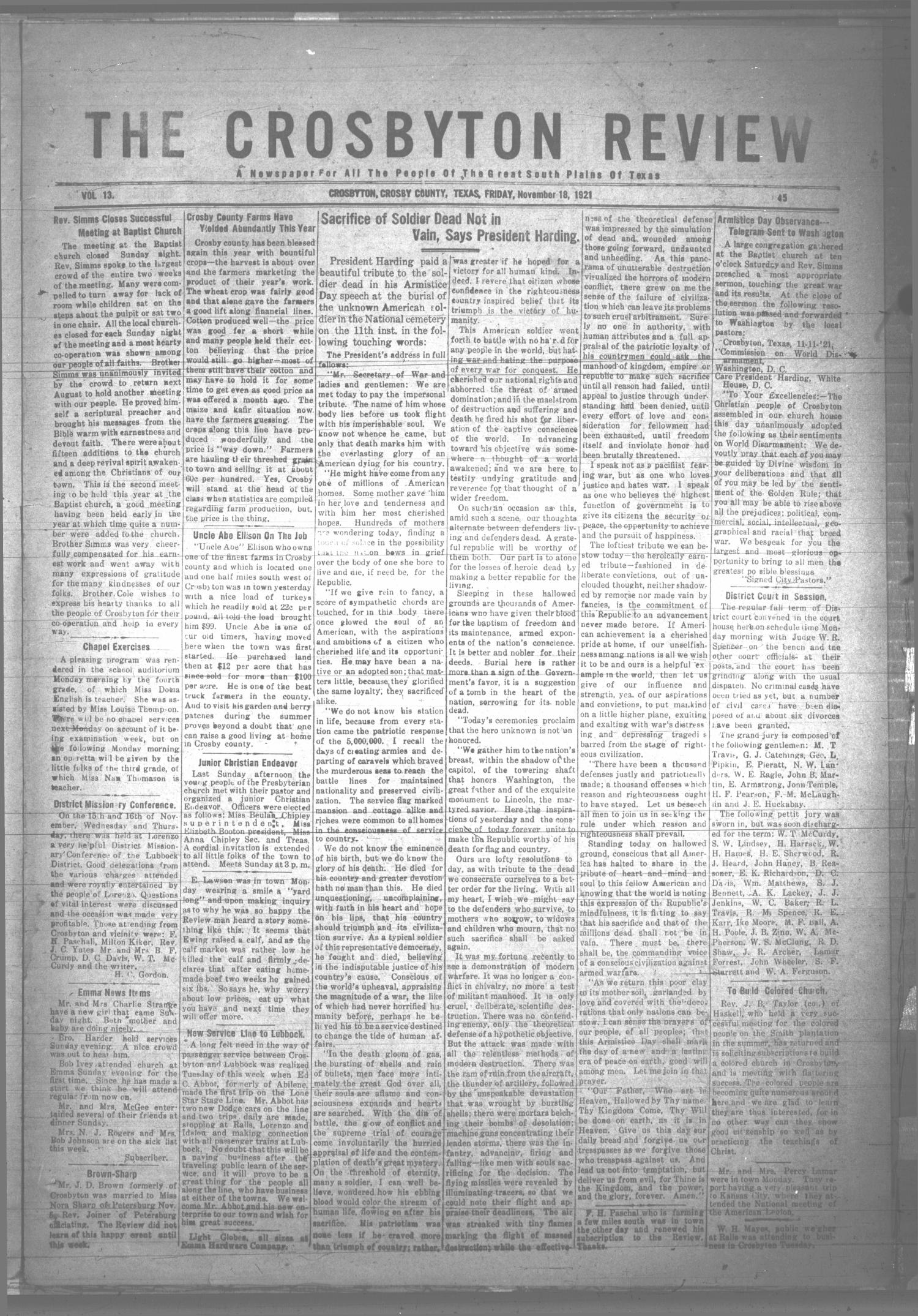 The Crosbyton Review. (Crosbyton, Tex.), Vol. 13, No. 45, Ed. 1 Friday, November 18, 1921                                                                                                      [Sequence #]: 1 of 8