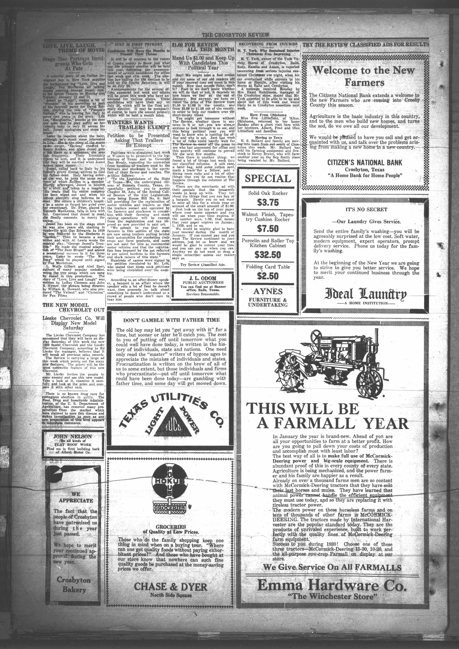 The Crosbyton Review. (Crosbyton, Tex.), Vol. 21, No. 52, Ed. 1 Friday, January 10, 1930                                                                                                      [Sequence #]: 8 of 8