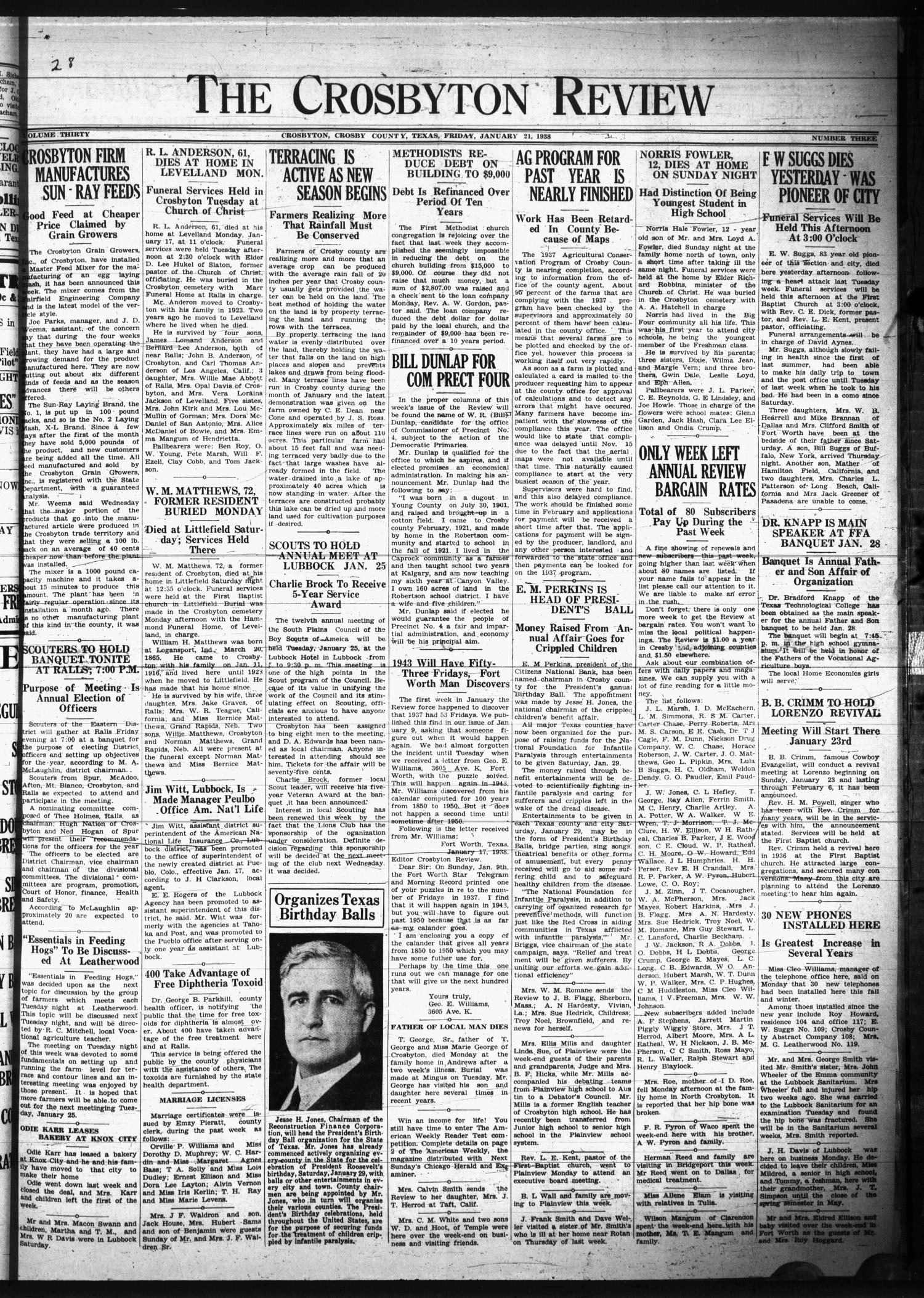 The Crosbyton Review. (Crosbyton, Tex.), Vol. 30, No. 3, Ed. 1 Friday, January 21, 1938                                                                                                      [Sequence #]: 1 of 8