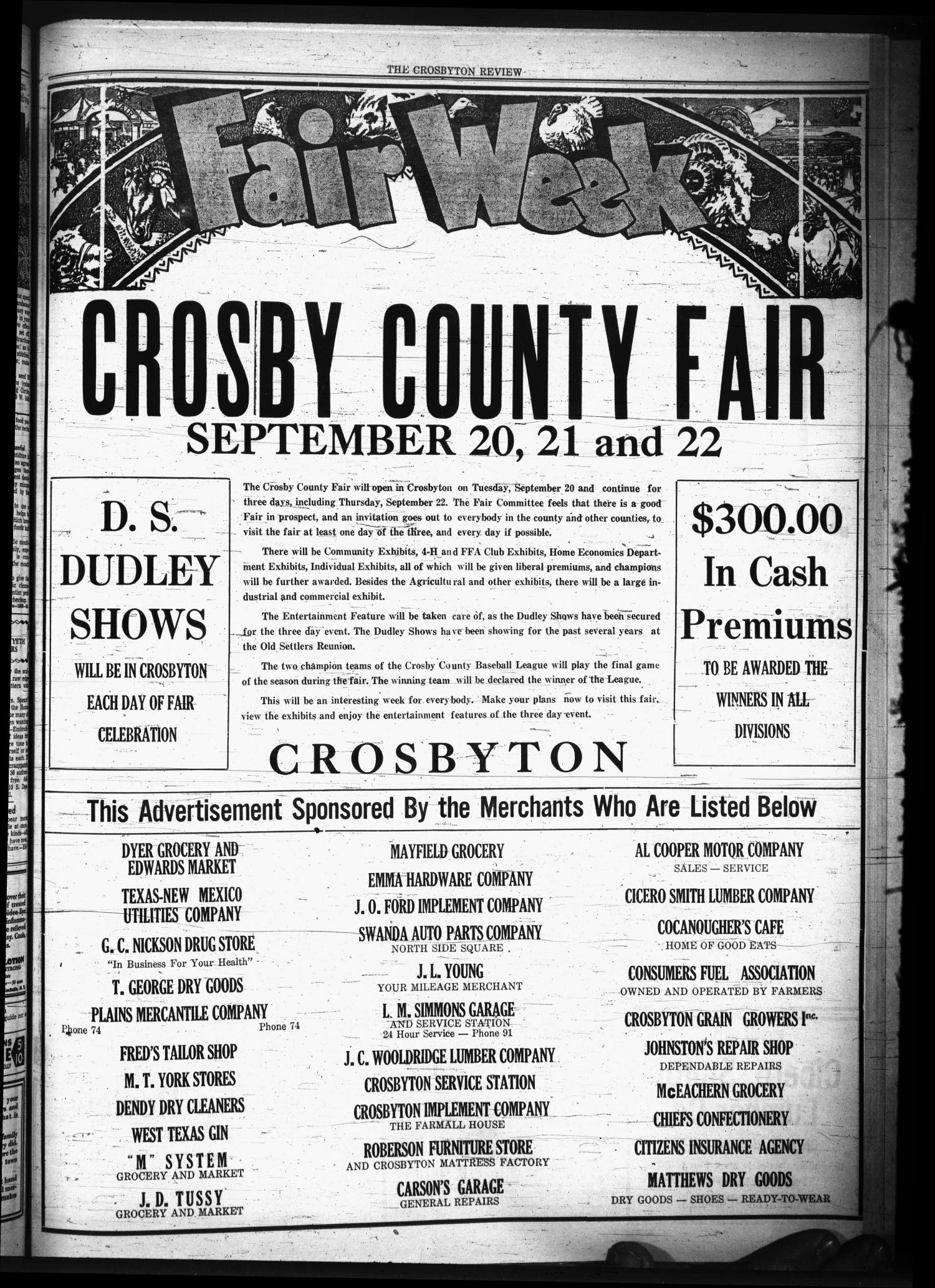 The Crosbyton Review. (Crosbyton, Tex.), Vol. 30, No. 37, Ed. 1 Friday, September 16, 1938                                                                                                      [Sequence #]: 3 of 10
