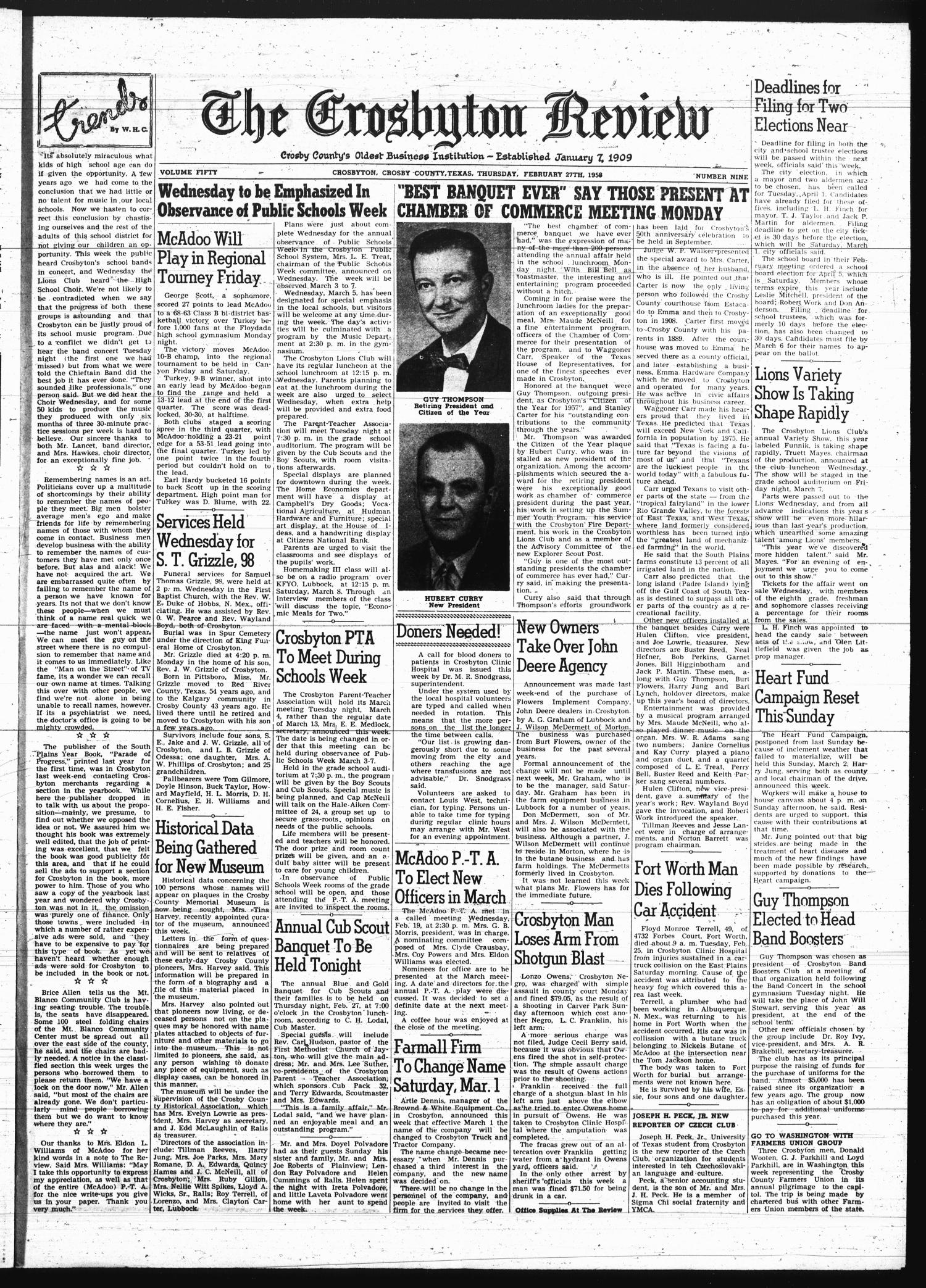 The Crosbyton Review. (Crosbyton, Tex.), Vol. 50, No. 9, Ed. 1 Thursday, February 27, 1958                                                                                                      [Sequence #]: 1 of 8