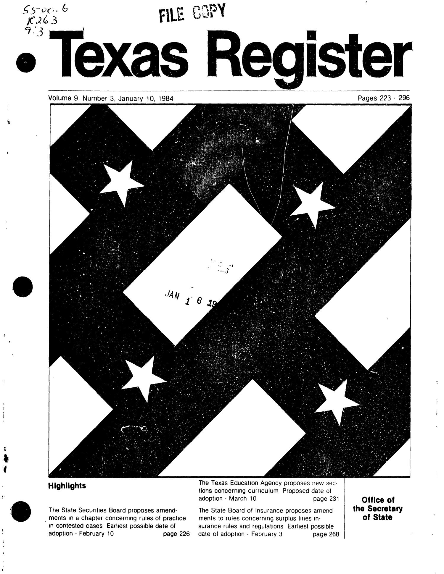Texas Register, Volume 9, Number 3, Pages 223-296, January 10, 1984                                                                                                      Title Page