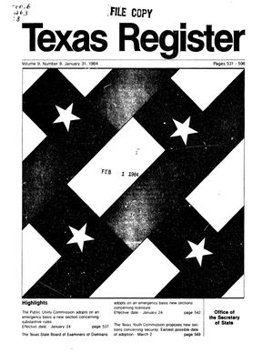 Primary view of object titled 'Texas Register, Volume 9, Number 8, Pages 531-596, January 31, 1984'.