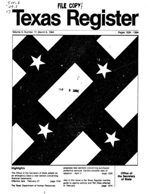 Primary view of object titled 'Texas Register, Volume 9, Number 17, Pages 1309-1394, March 6, 1984'.