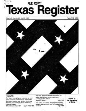Primary view of object titled 'Texas Register, Volume 9, Number 26, Pages 1919-2004, April 6, 1984'.