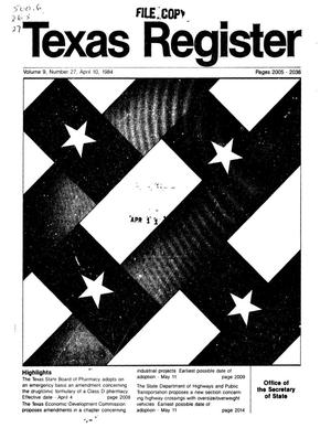 Primary view of object titled 'Texas Register, Volume 9, Number 27, Pages 2005-2036, April 10, 1984'.
