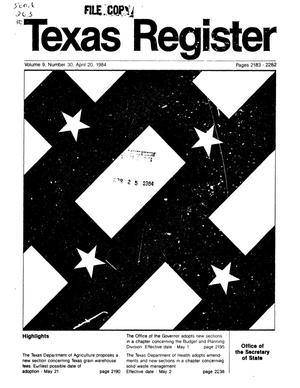 Primary view of object titled 'Texas Register, Volume 9, Number 30, Pages 2183-2282, April 20, 1984'.