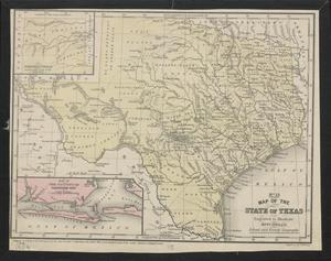A map of texas, yellow in color and lines on the states showing the different terrain.
