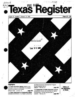 Primary view of object titled 'Texas Register, Volume 10, Number 7, Pages 231-264, January 22, 1985'.