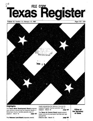 Primary view of object titled 'Texas Register, Volume 10, Number 13, Pages 523-610, February 15, 1985'.