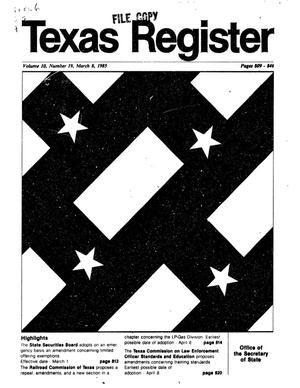 Primary view of object titled 'Texas Register, Volume 10, Number 19, Pages 809-846, March 8, 1985'.
