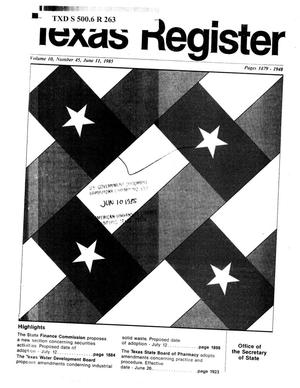 Primary view of object titled 'Texas Register, Volume 10, Number 45, Pages 1879-1948, June 11, 1985'.