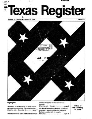 Primary view of object titled 'Texas Register, Volume 11, Number 1, Pages 1-79, January 3, 1986'.