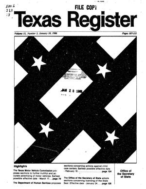 Primary view of object titled 'Texas Register, Volume 11, Number 3, Pages 107-151, January 10, 1986'.