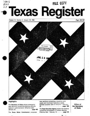 Primary view of object titled 'Texas Register, Volume 11, Number 8, Pages 484-569, January 28, 1986'.