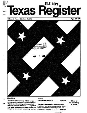 Primary view of object titled 'Texas Register, Volume 11, Number 24, Pages 1531-1595, March 28, 1986'.