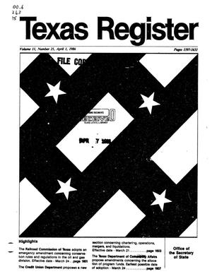 Primary view of object titled 'Texas Register, Volume 11, Number 25, Pages 1597-1631, April 1, 1986'.