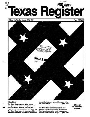 Primary view of object titled 'Texas Register, Volume 11, Number 30, Pages 1793-1857, April 18, 1986'.