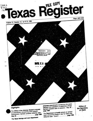 Primary view of object titled 'Texas Register, Volume 11, Number 32, Pages 1887-1954, April 25, 1986'.