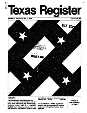 Primary view of object titled 'Texas Register, Volume 11, Number 38, Pages 2373-2397, May 18, 1986'.