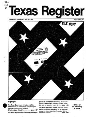 Primary view of object titled 'Texas Register, Volume 11, Number 41, Pages 2491-2534, May 30, 1986'.