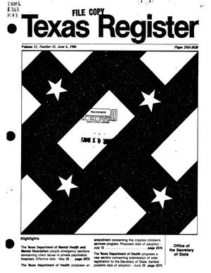 Primary view of object titled 'Texas Register, Volume 11, Number 43, Pages 2563-2620, June 6, 1986'.