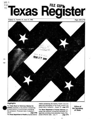 Primary view of object titled 'Texas Register, Volume 11, Number 45, Pages 2691-2774, June 13, 1986'.