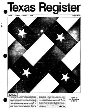 Primary view of object titled 'Texas Register, Volume 12, Number 3, Pages 89-157, January 13, 1987'.