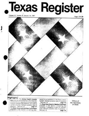Texas Register, Volume 12, Number [4], Pages 159-206, January 16, 1987