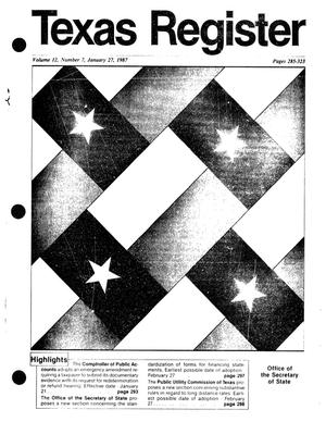 Primary view of object titled 'Texas Register, Volume 12, Number 7, Pages 285-323, January 27, 1987'.
