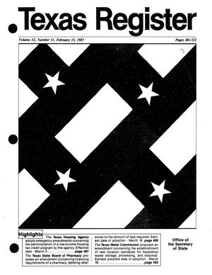 Primary view of object titled 'Texas Register, Volume 12, Number 11, Pages 481-522, February 13, 1987'.