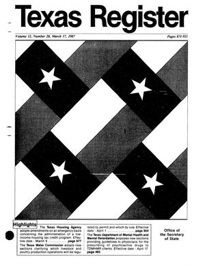 Texas Register, Volume 12, Number 20, Pages 871-921, March 17, 1987