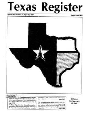 Primary view of object titled 'Texas Register, Volume 12, Number 31, Pages 1368-1405, April 24, 1987'.