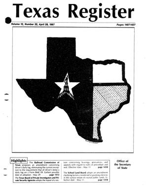 Texas Register, Volume 12, Number 32, Pages 1407-1427, April 28, 1987