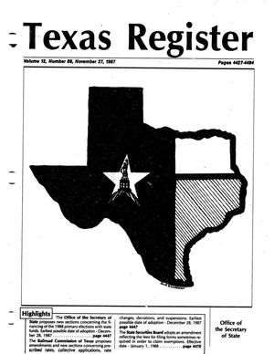 Primary view of object titled 'Texas Register, Volume 12, Number 89, Pages 4427-4494, November 27, 1987'.