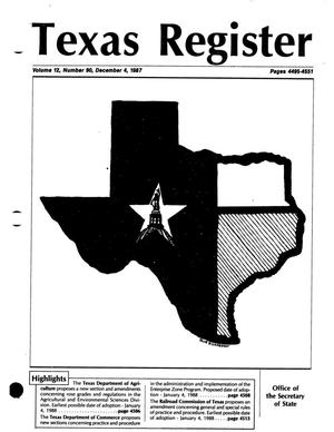 Primary view of object titled 'Texas Register, Volume 12, Number 90, Pages 4495-4551, December 4, 1987'.