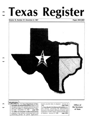 Primary view of object titled 'Texas Register, Volume 12, Number 91, Pages 4553-4603, December 8, 1987'.