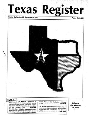 Primary view of object titled 'Texas Register, Volume 12, Number 95, Pages 4801-4864, December 22, 1987'.