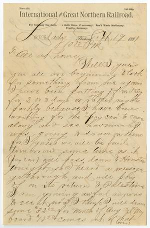Primary view of object titled '[Letter from Paul Osterhout to Osterhout Family, September 19, 1881]'.