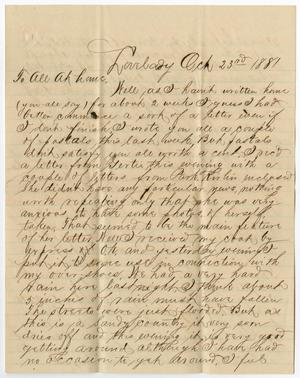 [Letter from Paul Osterhout to Osterhout Family, October 23, 1881]