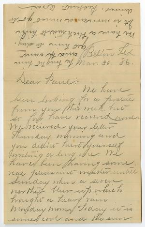 Primary view of object titled '[Letter from Ora Osterhout to Paul Osterhout, March 30, 1886]'.
