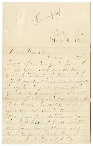 Primary view of object titled '[Letter from Ora Osterhout to Paul Osterhout, May 6, 1886]'.