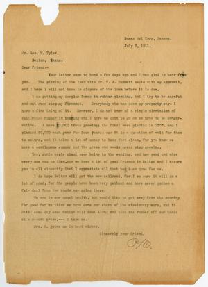 Primary view of object titled '[Letter from Paul Osterhout to George W. Tyler, July 3, 1911]'.