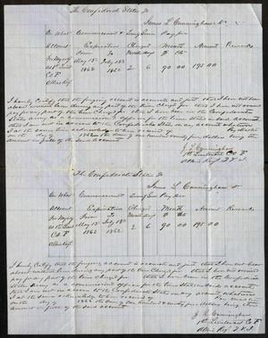 Primary view of object titled '[The Confederate States Receipt for Time of Service for James L. Cunningham, July, 1862]'.