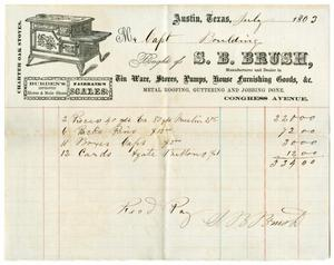 Primary view of object titled '[Invoice from S. B. Brush for Captain H. M. Bouldin, July 1863]'.