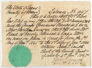 Primary view of object titled '[Bexar County Store License No. 947 for Mrs. Reed, January 1865]'.