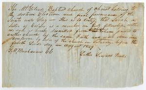 [Letter of Standing for Sarah from Mount Gilead Baptist Church, August 1849]