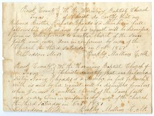 [Letter of Standing for Richard and Nancy Rhoades from Harmony Baptist Church, October, 1857]