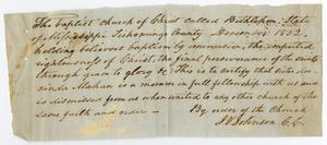 Primary view of object titled '[Letter of Standing for Lucinda Mahan from Bethlehem Baptist Church, December, 1852]'.