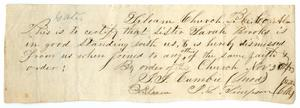 Primary view of object titled '[Letter of Standing for Sarah Brooks from Siloam Baptist Church, November 2, 1853]'.